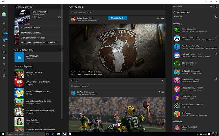 Xbox beta's screenshots