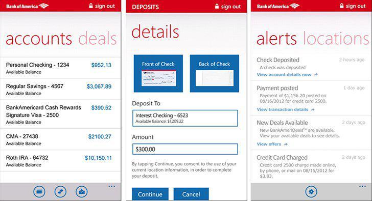 Bank of America's screenshots