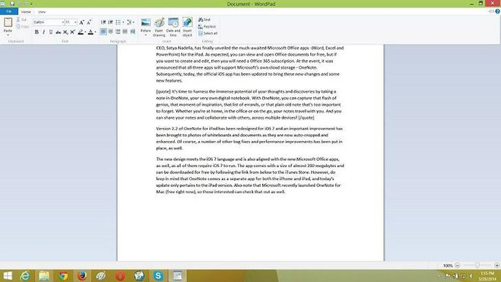 WordPad's screenshots
