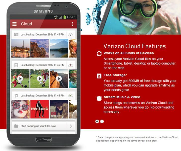 Verizon Cloud's screenshots