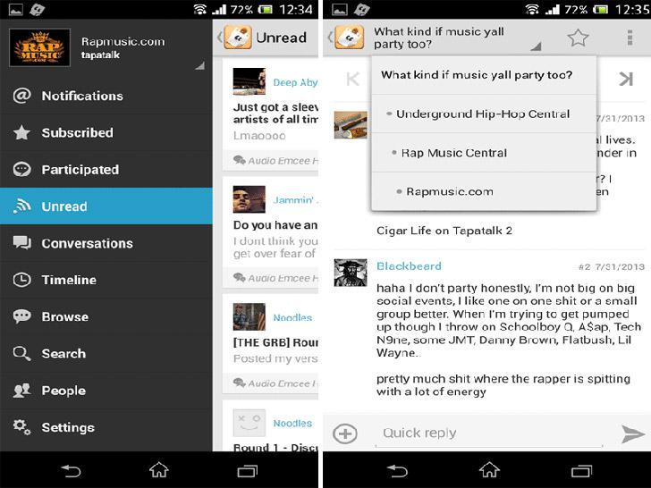Tapatalk's screenshots