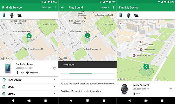 Find My Device's screenshots