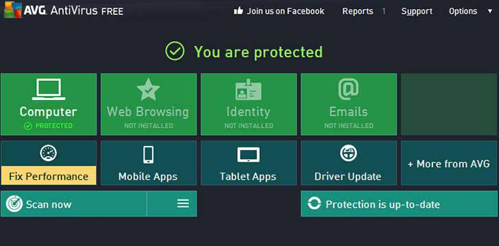 AVG AntiVirus FREE's screenshots